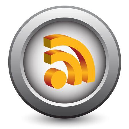 syndication: icono de rss 3D  Vectores