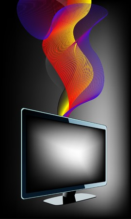 TV with waves  Stock Vector - 7919780