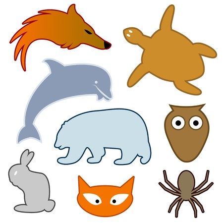 Set of abstract  animal  Vector