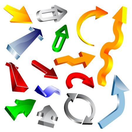 downwards: Set of colorful arrows Illustration
