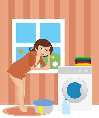 household tasks: Housewife in the laundry  Illustration