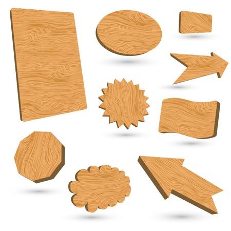 3d wood  labels Stock Vector - 8001628