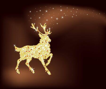 Holiday achtergrond met magische Kerst rendieren  Stock Illustratie