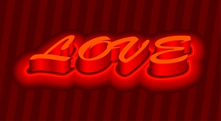 3d love text for valentines day Vector