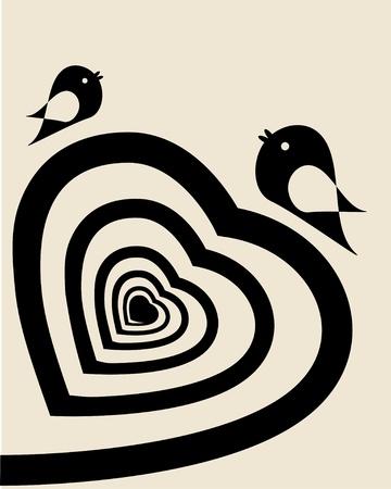 black an white: Coraz�n de espiral abstracto Vectores