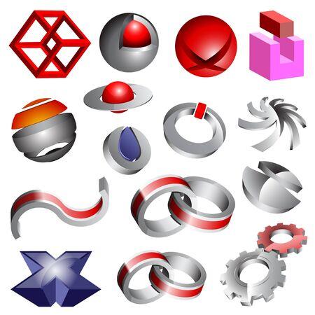 logos negocios: Conjunto de iconos y logotipos 3d abstractos Vectores
