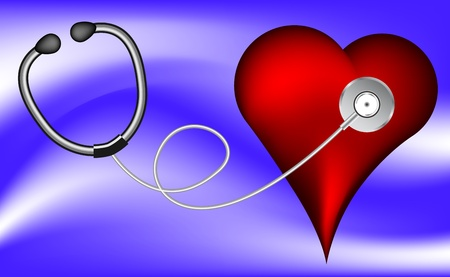 auscultation: Stethoscope and red heart