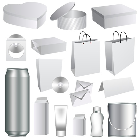 Blank dummies packaging templates collection. Set of white paper stationery elements.  Vector