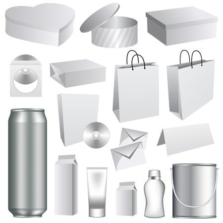 En blanco dummies plantillas de recogida de envases. Conjunto de elementos de diseño de fondo del libro blanco.