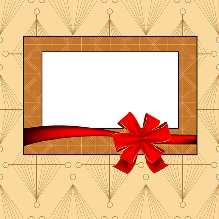 Vintage photo frame with ribbon  Vector