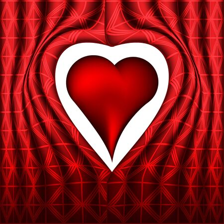 Curtain background with read heart photo