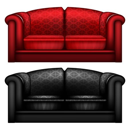 Black and red leather sofa isolated photo