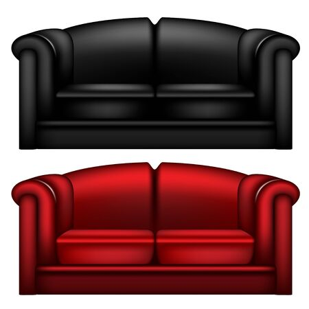 black leather: Black and red leather sofa isolated