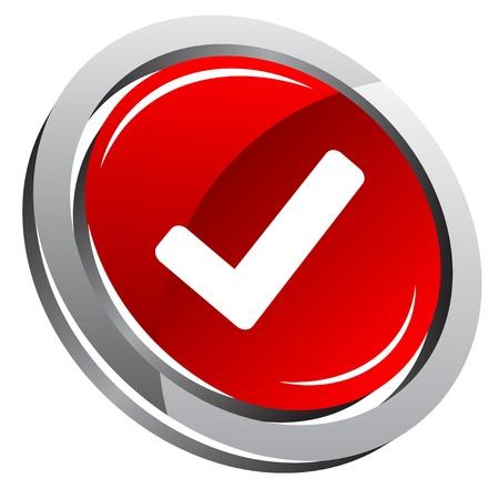 botón brillante 3D con signo ok