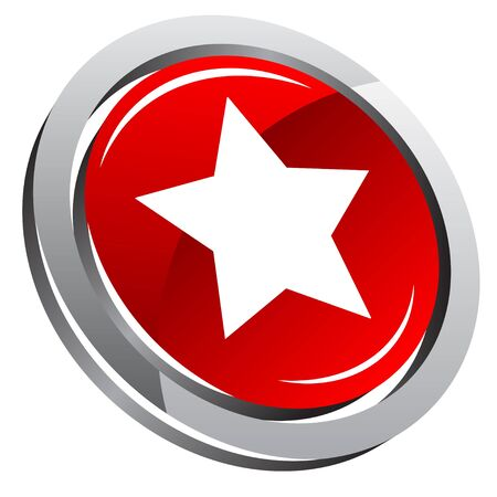 3d button with star Vector