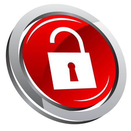 padlock icon: 3d glossy button with padlock icon