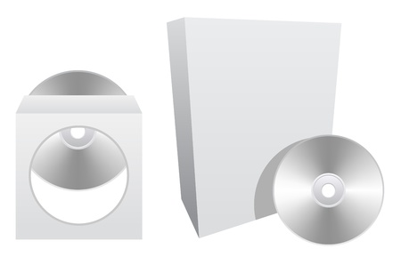 Empty software box and cd or dvd case Vector