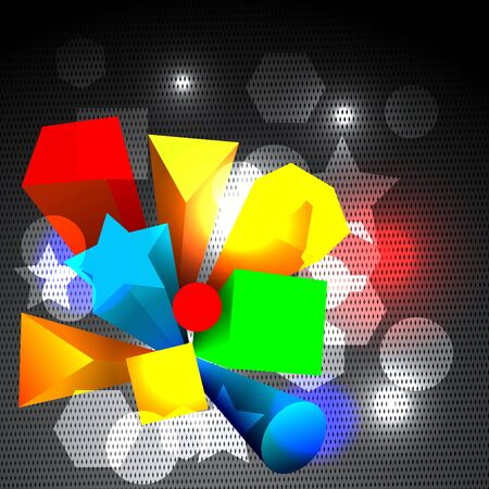 person shined: Abstract colorful 3d shapes and lights Illustration