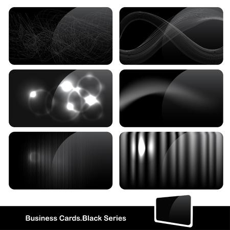 visits: Conjunto de tarjetas negras brillantes