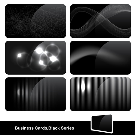 Reeks van glanzende zwarte visitekaartjes Stock Illustratie