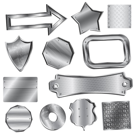 metal sign: Vector illustration set. Shiny silver labels and badges Illustration