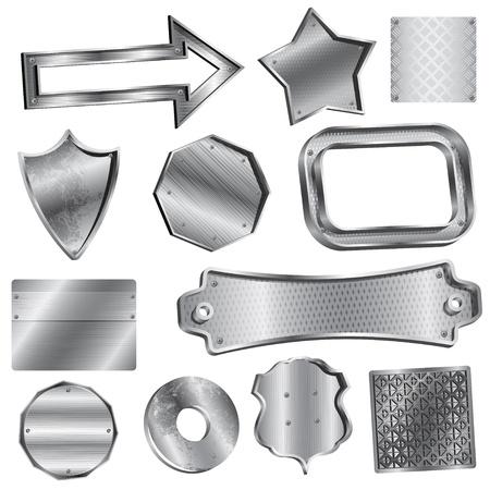 metal buttons: Vector illustration set. Shiny silver labels and badges Illustration