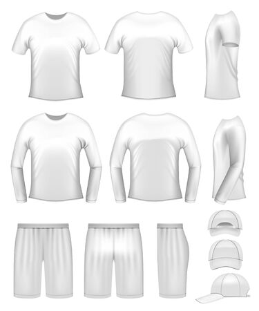 men's clothing: White mens clothing templates - t-shirts, caps and shorts Illustration