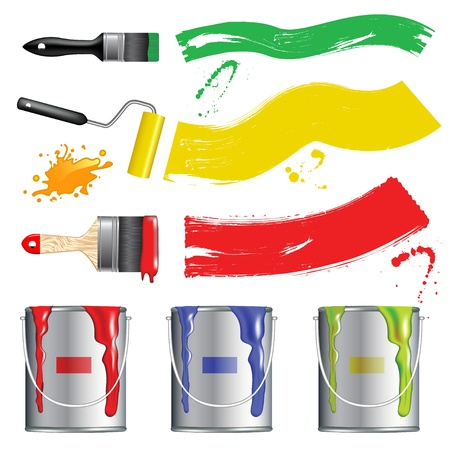 paints: Vector paint buckets and brushes Illustration