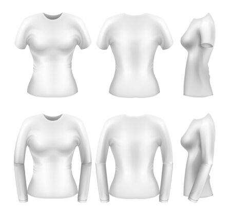 gradient meshes: White womens t-shirt templates from all angles