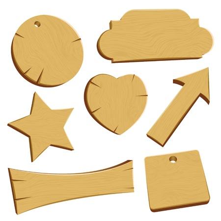 wooden post: Conjunto de placas de madera o pancartas, bien detalladas Vectores