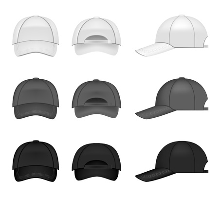 black cap: Set of baseball caps, three different colors from all angles Illustration