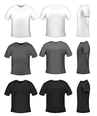 Mens t-shits, collection of diferent colors Vector
