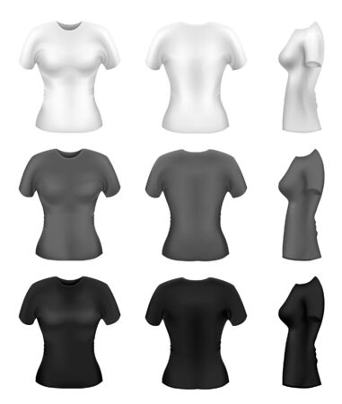 sport wear: Womens t-shirt templates in diferent colors