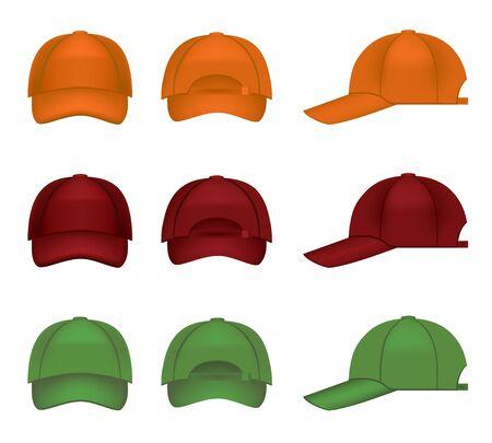 sport wear: Conjunto de gorras de b�isbol colorido