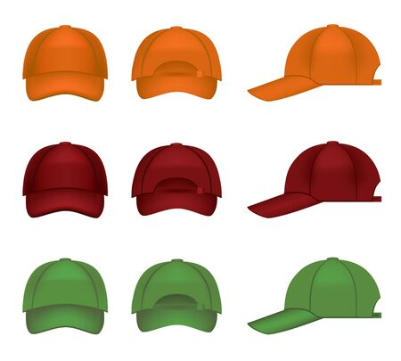 Set of colorful baseball caps Vector