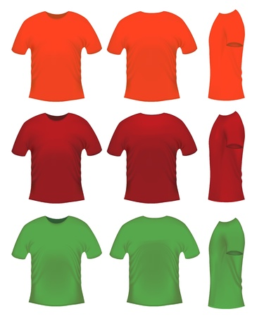 Mens t-shits, orange red and green colors Vector
