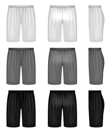 athletic wear: shorts - shades of gray clothing set Illustration