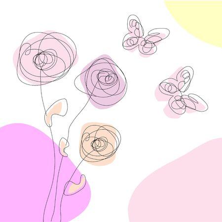 Spring dandelions and butterflies Stock Vector - 9475966
