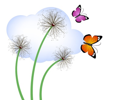 Spring dandelions and butterflies Vector