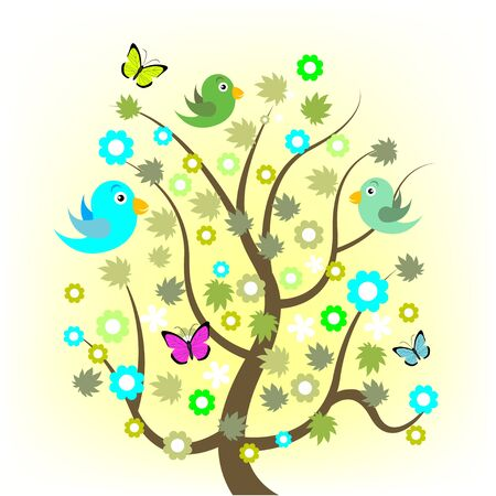 beautiful summer growth: Spring tree with birds and butterflies