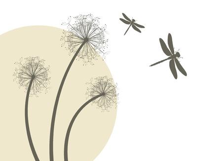Lente paardebloemen en libellen