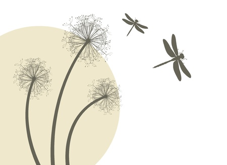 dandelion wind: Spring dandelions and dragonflies
