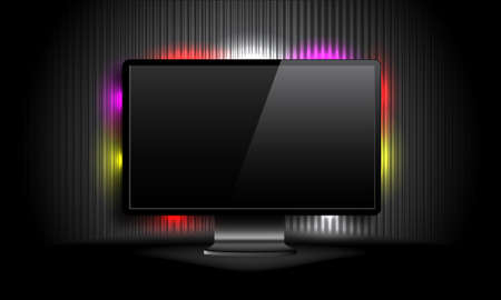 LCD monitor with colorful lights Vector