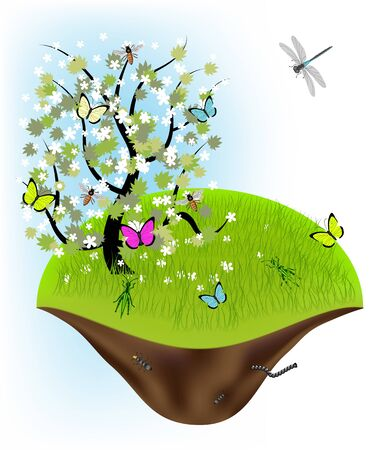 Spring illustration - tree and landscape Stock Vector - 9476029
