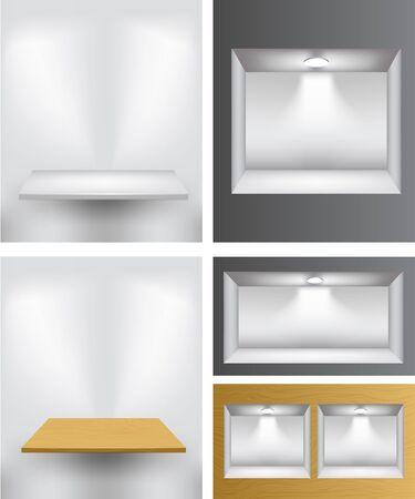 3d empty shelves for presentation