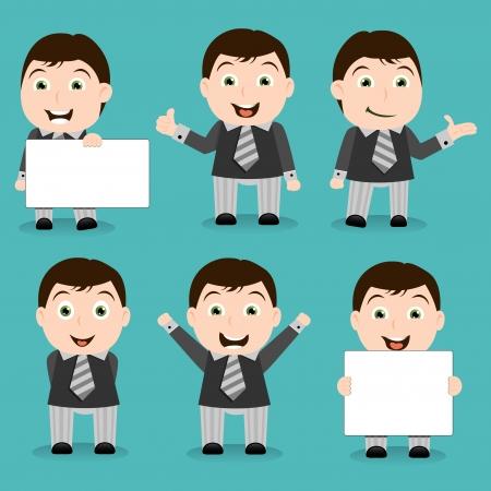 Vrolijk en gelukkig zakenman tekens - tekenfilms Stock Illustratie