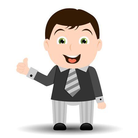 Businessman cartoon showing ok sign Stock Vector - 9857873
