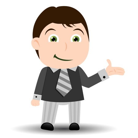 Business man showing with hand Stock Vector - 9857870