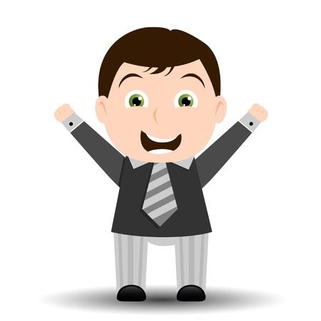 Very happy business man - mascot, cartoon Stock Vector - 9857872