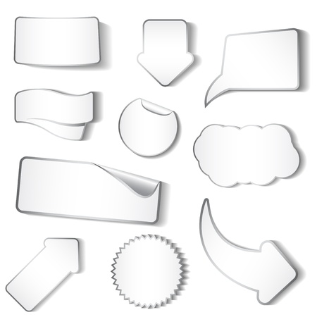white sticker: Set of white stickers and tags Illustration